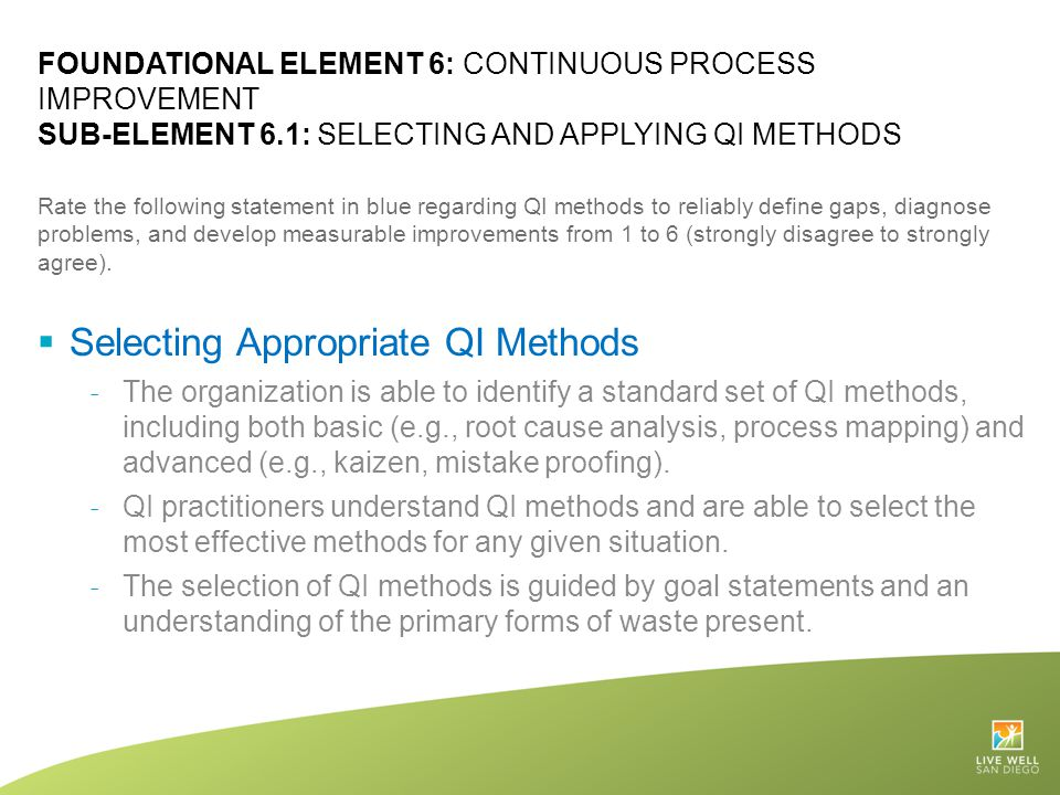 Selecting Appropriate QI Methods