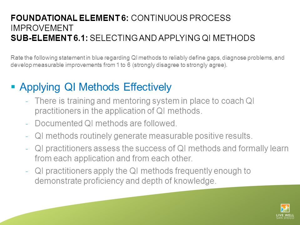 Applying QI Methods Effectively