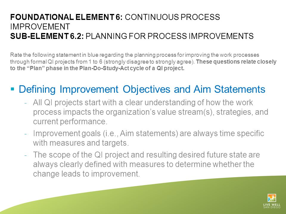 Defining Improvement Objectives and Aim Statements