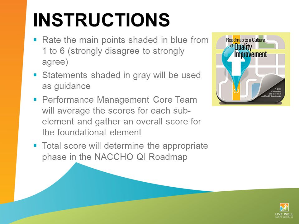 Instructions Rate the main points shaded in blue from 1 to 6 (strongly disagree to strongly agree)
