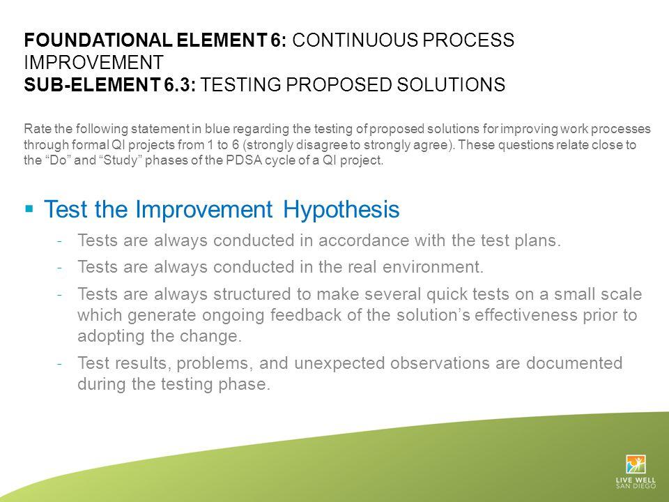 Test the Improvement Hypothesis