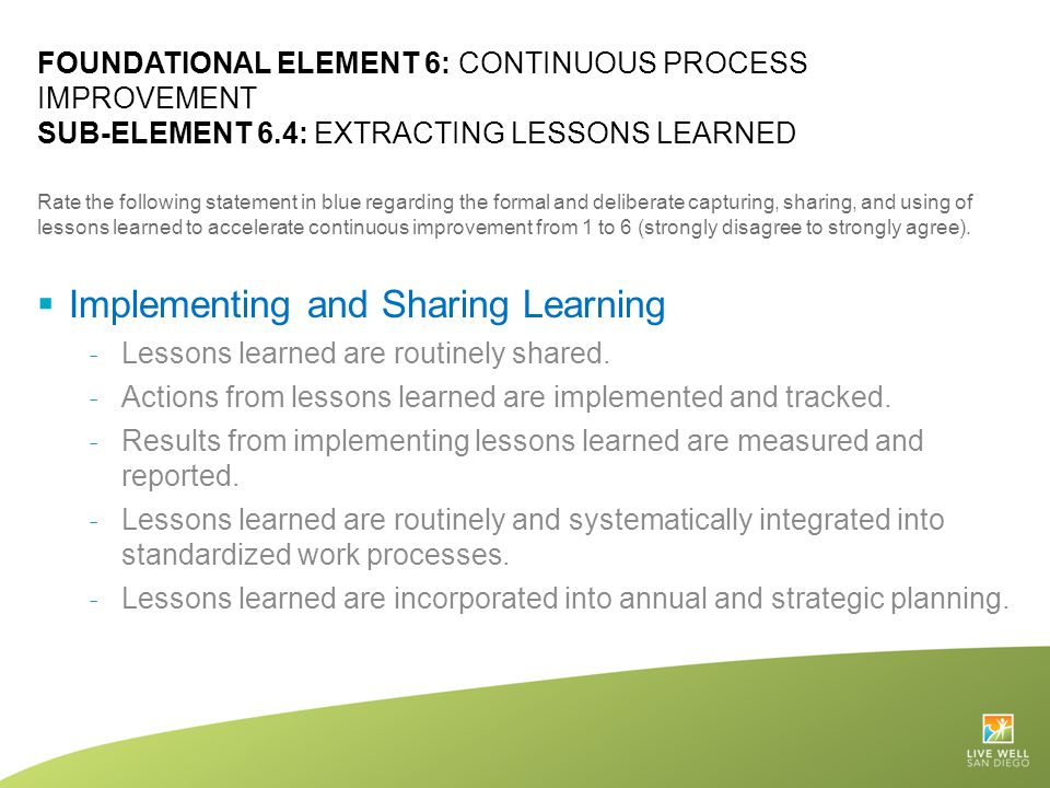 Implementing and Sharing Learning