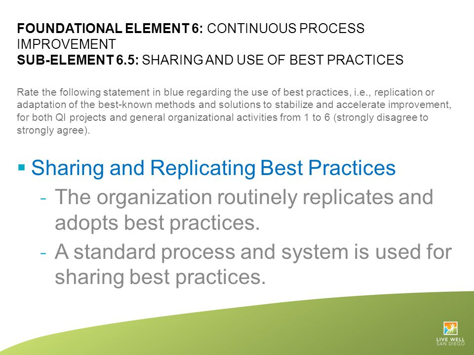Sharing and Replicating Best Practices