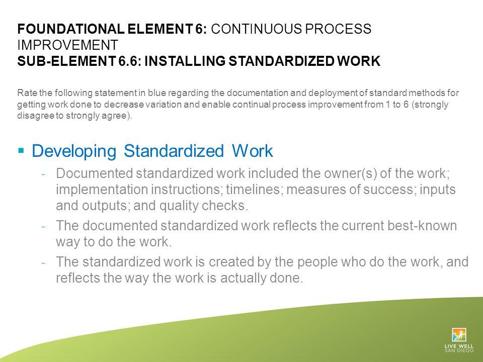 Developing Standardized Work