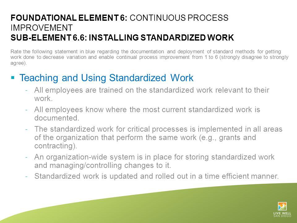 Teaching and Using Standardized Work