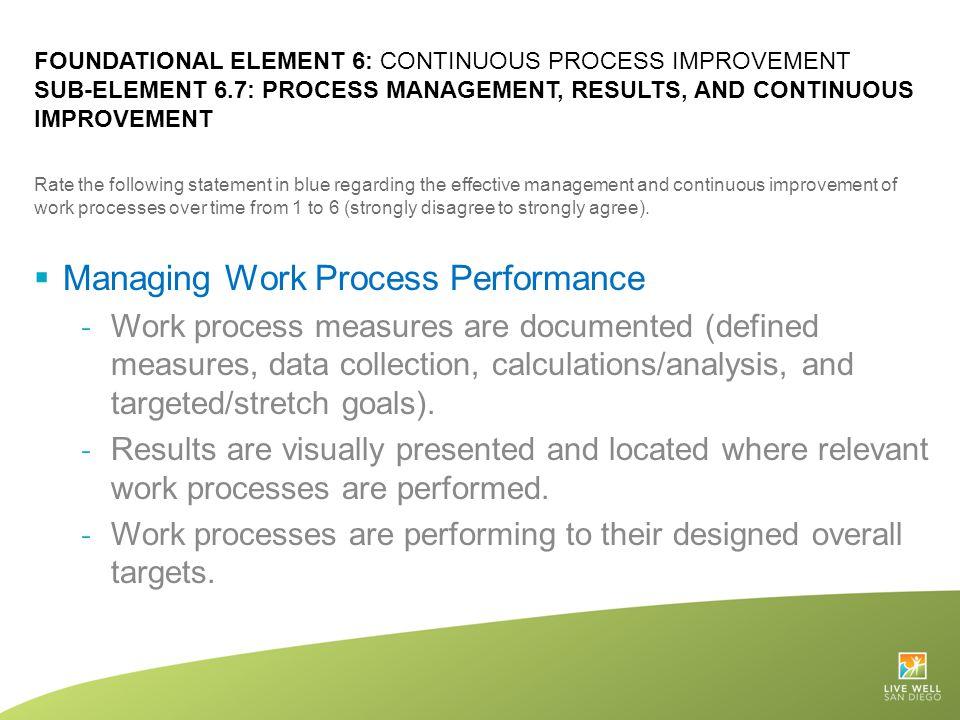 Managing Work Process Performance
