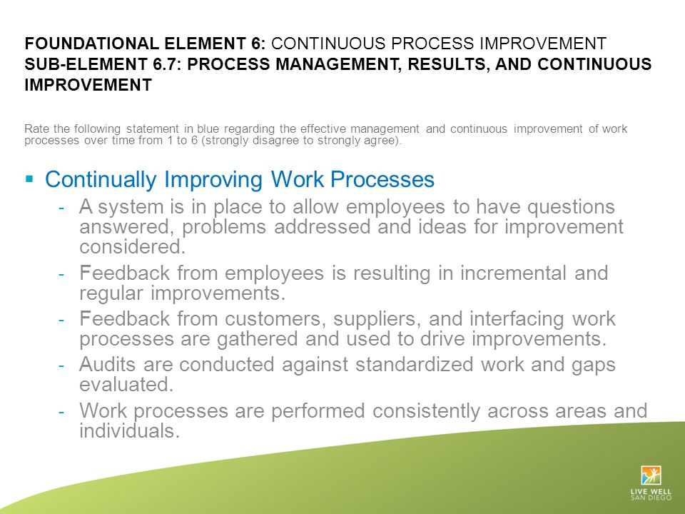Continually Improving Work Processes
