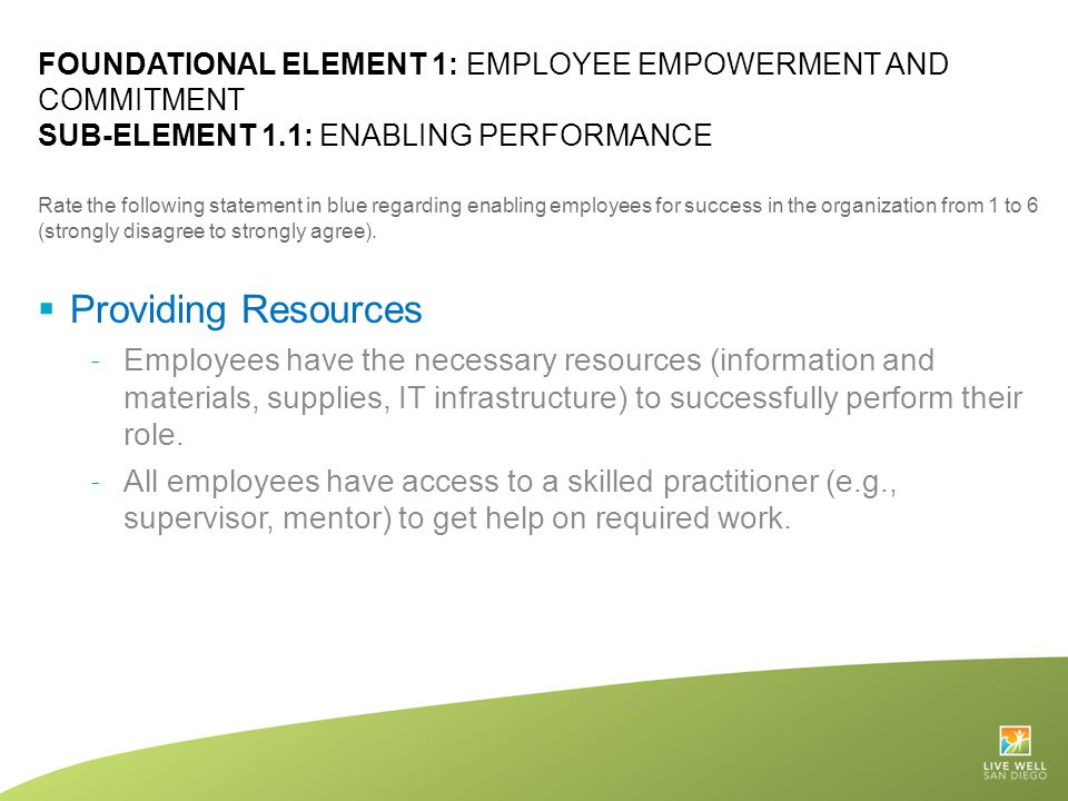 Foundational Element 1: Employee Empowerment and Commitment Sub-Element 1.1: Enabling Performance