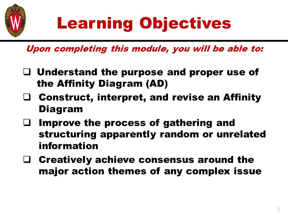 Learning Objectives Upon completing this module, you will be able to: