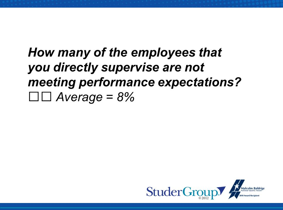 How many of the employees that you directly supervise are not meeting performance expectations