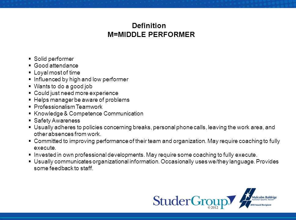 Definition M=MIDDLE PERFORMER