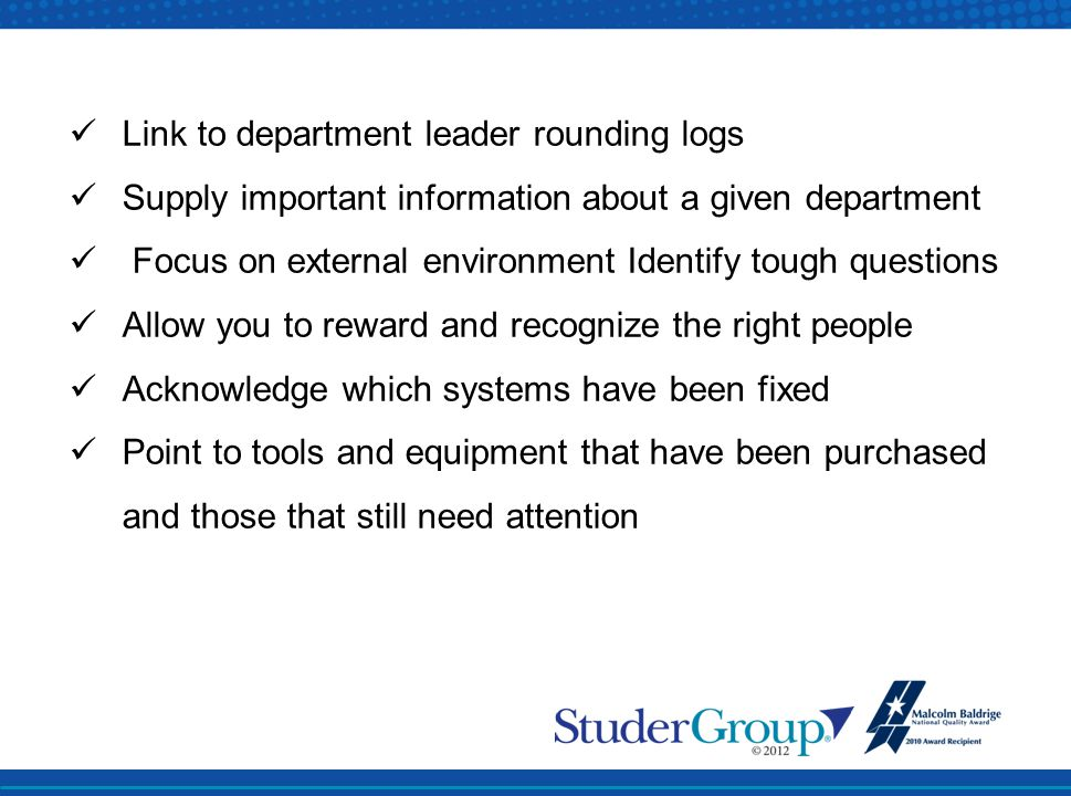 Link to department leader rounding logs