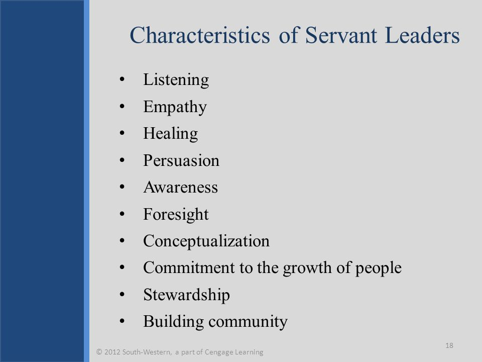Characteristics of Servant Leaders