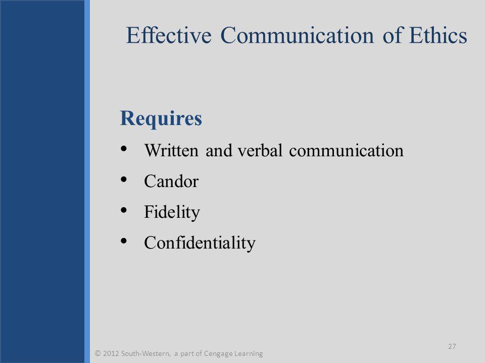 Effective Communication of Ethics