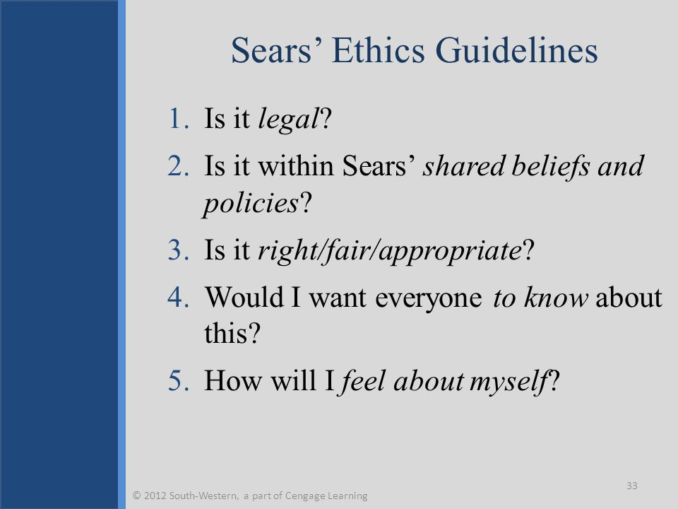 Sears' Ethics Guidelines