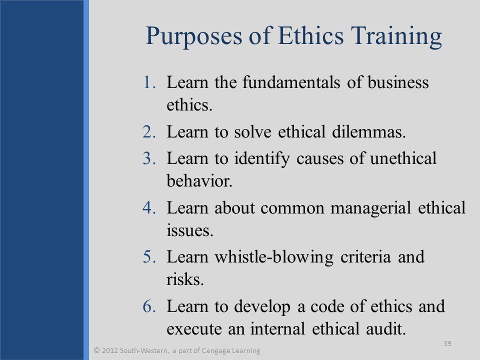 Purposes of Ethics Training