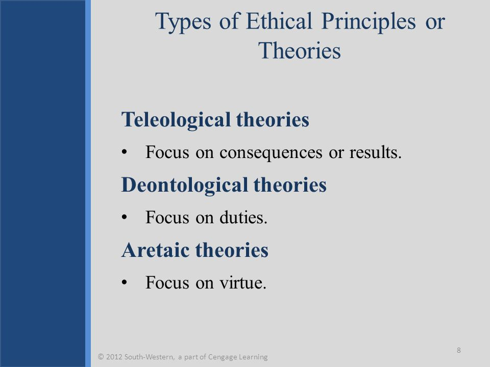 Types of Ethical Principles or Theories