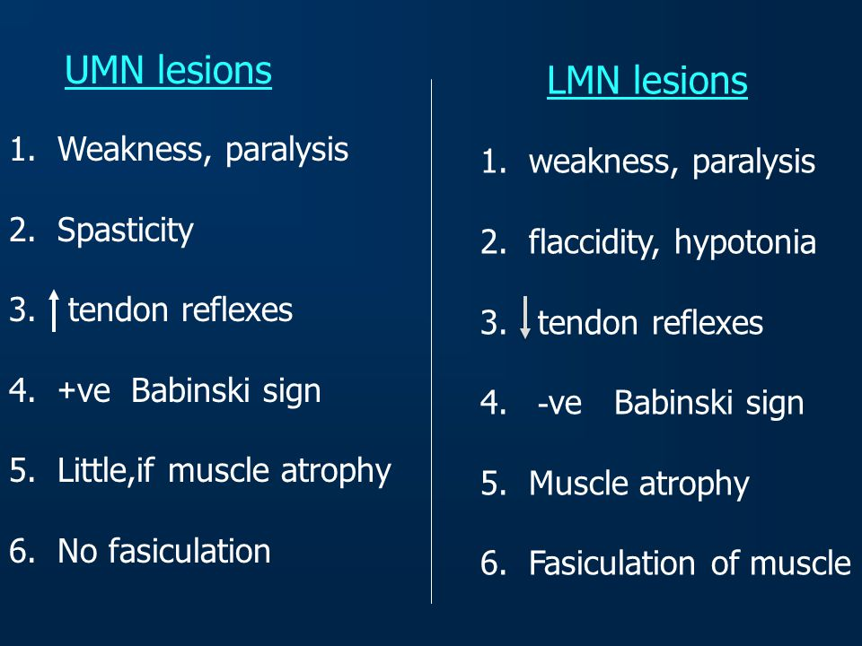 LMN lesions UMN lesions Weakness, paralysis weakness, paralysis