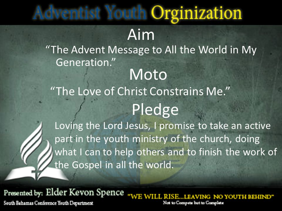 Aim Moto Pledge The Love of Christ Constrains Me.