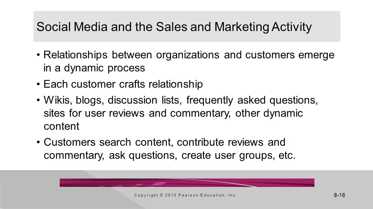 Social Media and the Sales and Marketing Activity