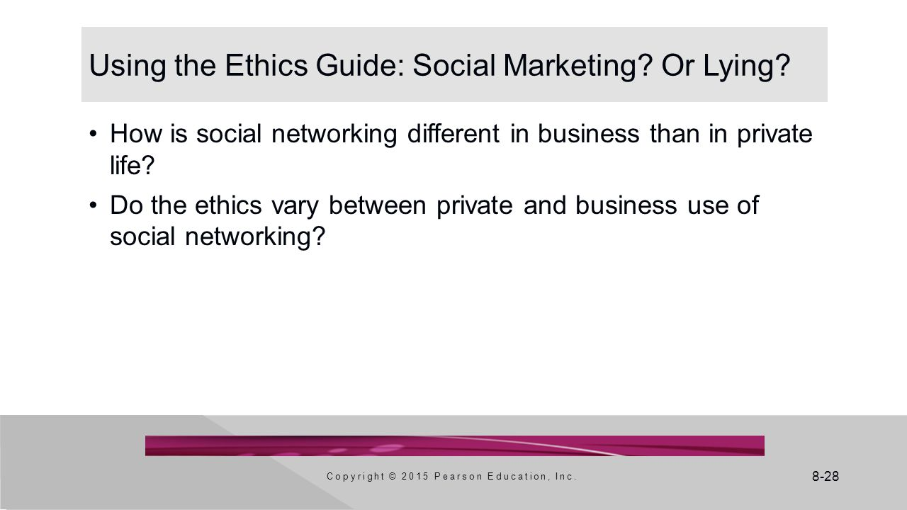 Using the Ethics Guide: Social Marketing Or Lying