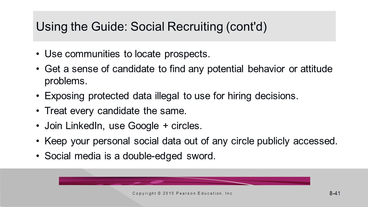 Using the Guide: Social Recruiting (cont d)