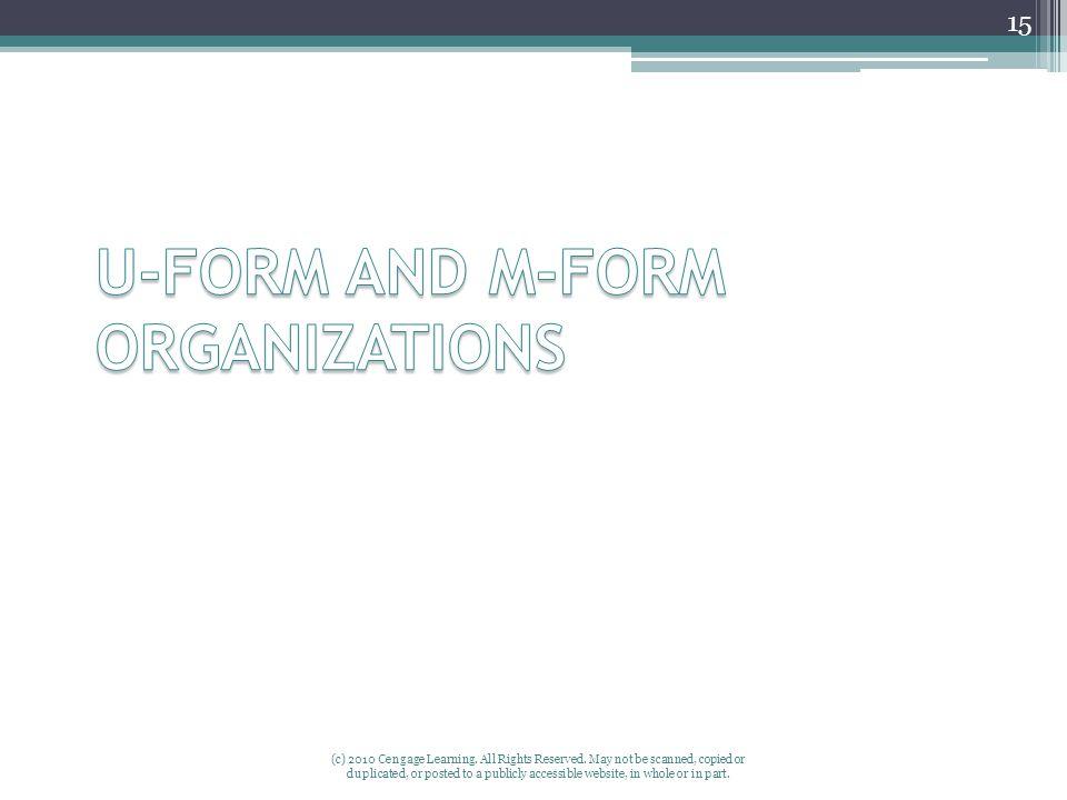 U-FORM AND M-FORM ORGANIZATIONS