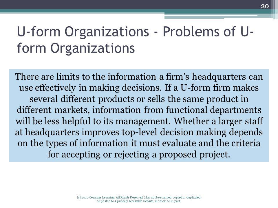 U-form Organizations - Problems of U-form Organizations