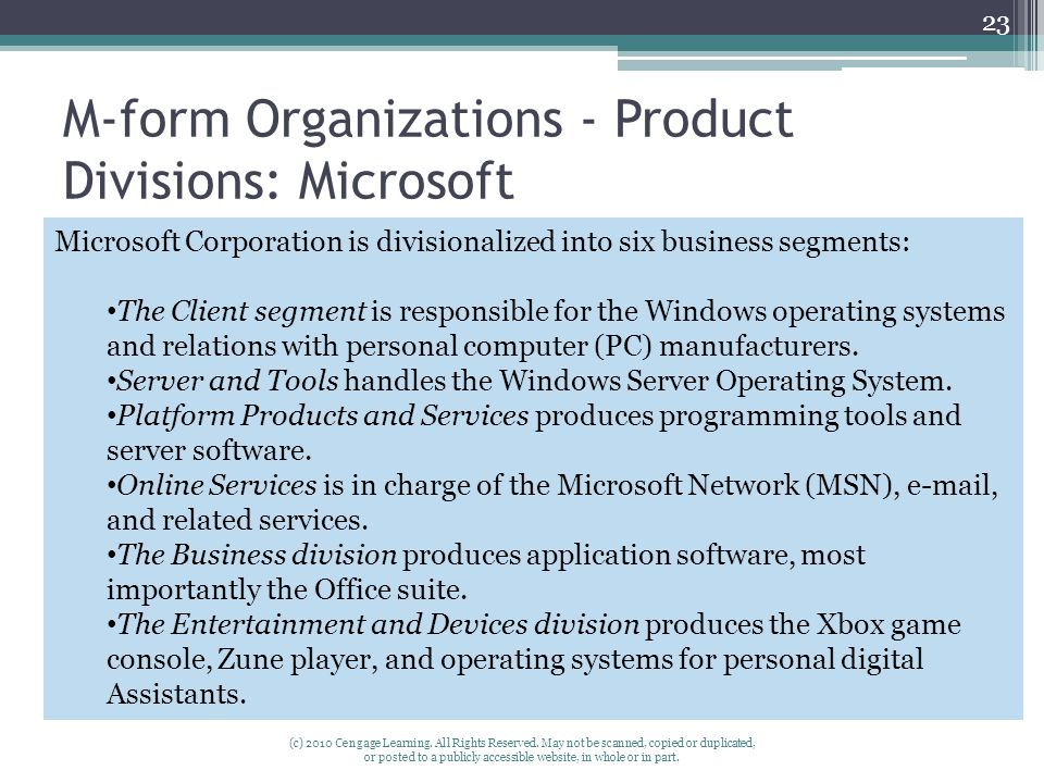 M-form Organizations - Product Divisions: Microsoft