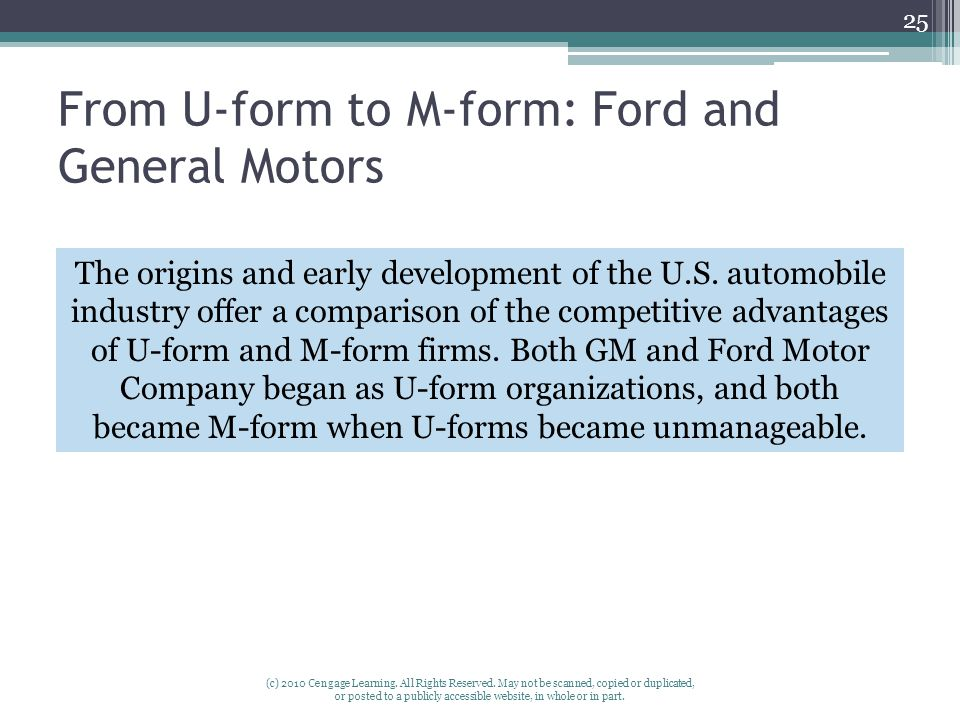 From U-form to M-form: Ford and General Motors