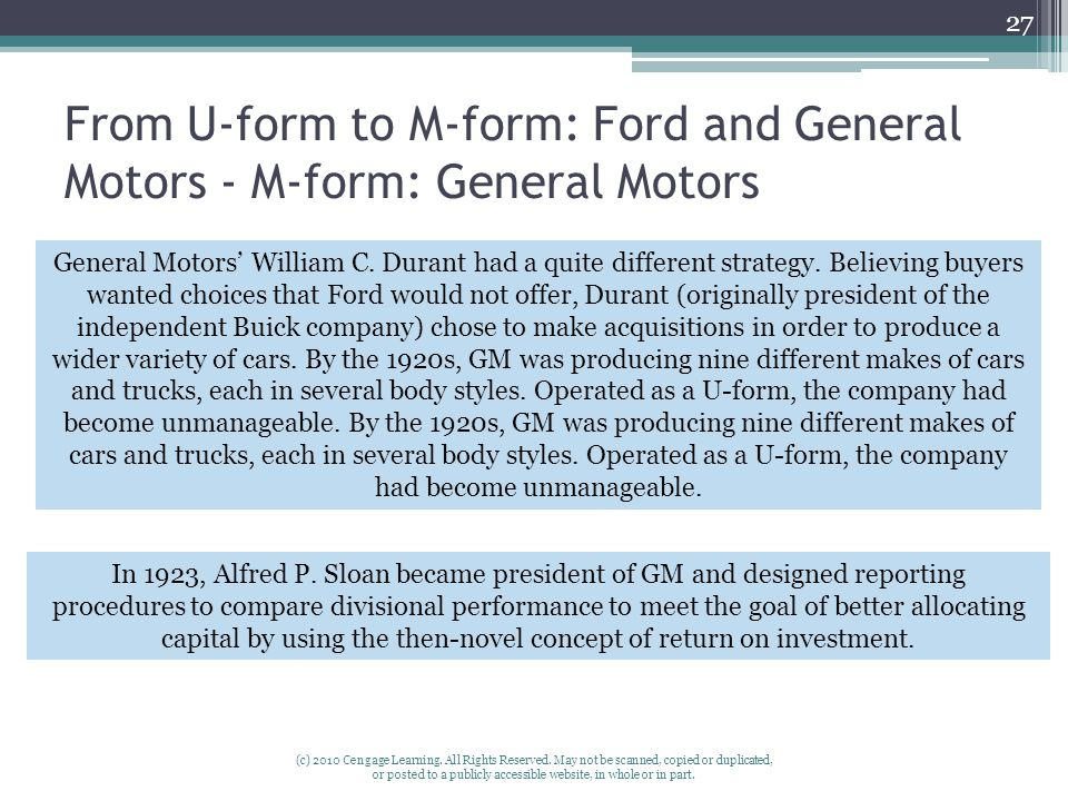 From U-form to M-form: Ford and General Motors - M-form: General Motors