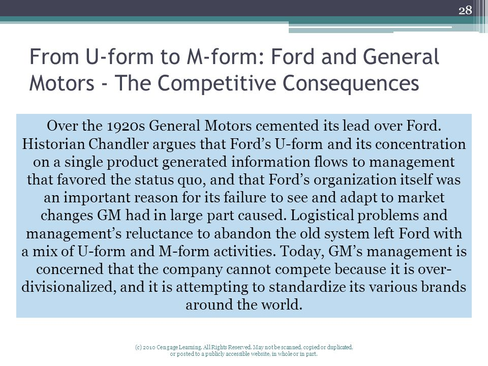 From U-form to M-form: Ford and General Motors - The Competitive Consequences