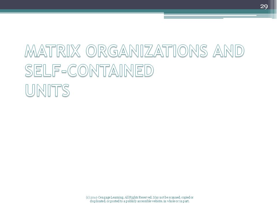 MATRIX ORGANIZATIONS AND SELF-CONTAINED UNITS