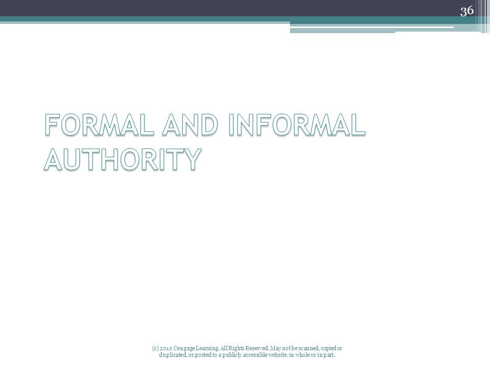 FORMAL AND INFORMAL AUTHORITY