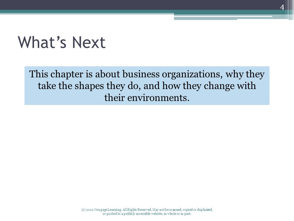 What's Next This chapter is about business organizations, why they take the shapes they do, and how they change with their environments.