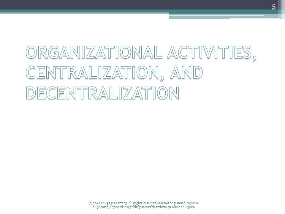 ORGANIZATIONAL ACTIVITIES, CENTRALIZATION, AND DECENTRALIZATION
