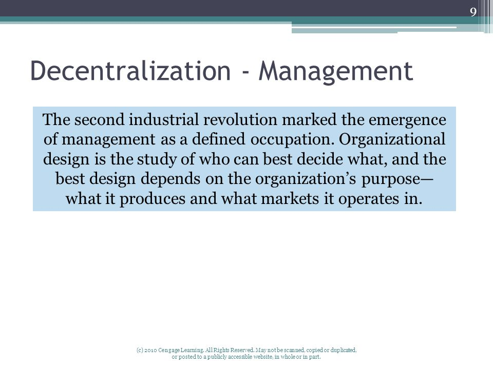 Decentralization - Management