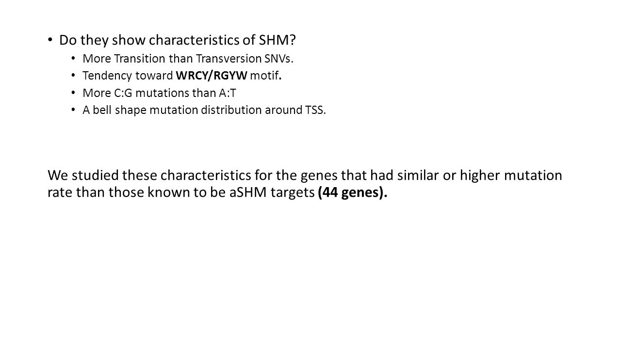 Do they show characteristics of SHM