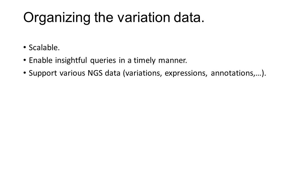 Organizing the variation data.