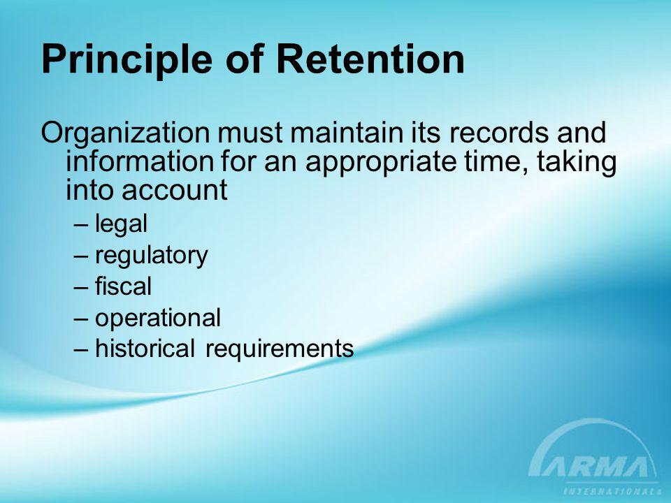 Principle of Retention