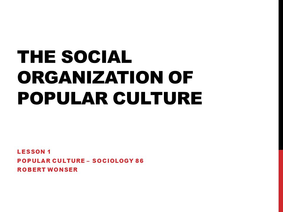 The Social Organization of Popular Culture