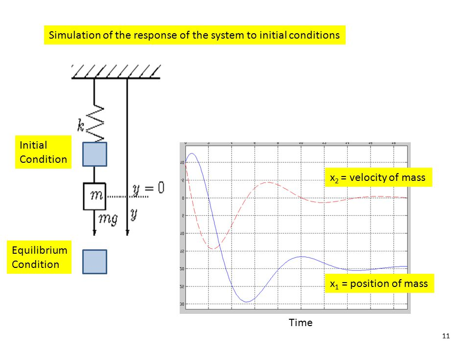 Simulation of the response of the system to initial conditions