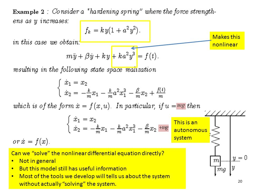 Makes this nonlinear This is an autonomous system. Can we solve the nonlinear differential equation directly