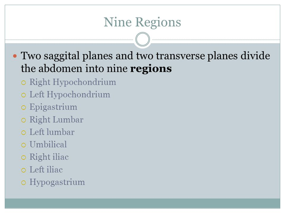 Nine Regions Two saggital planes and two transverse planes divide the abdomen into nine regions. Right Hypochondrium.