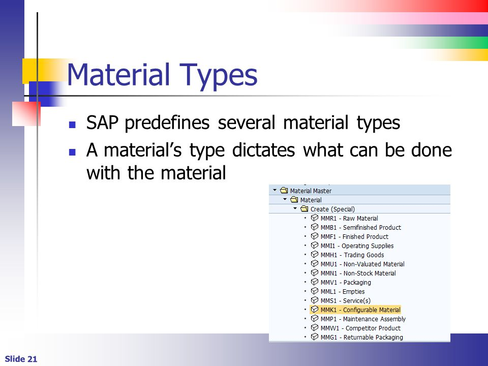 Material Types SAP predefines several material types