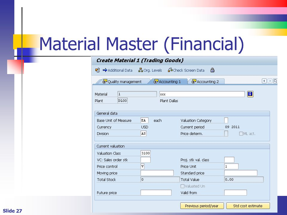 Material Master (Financial)