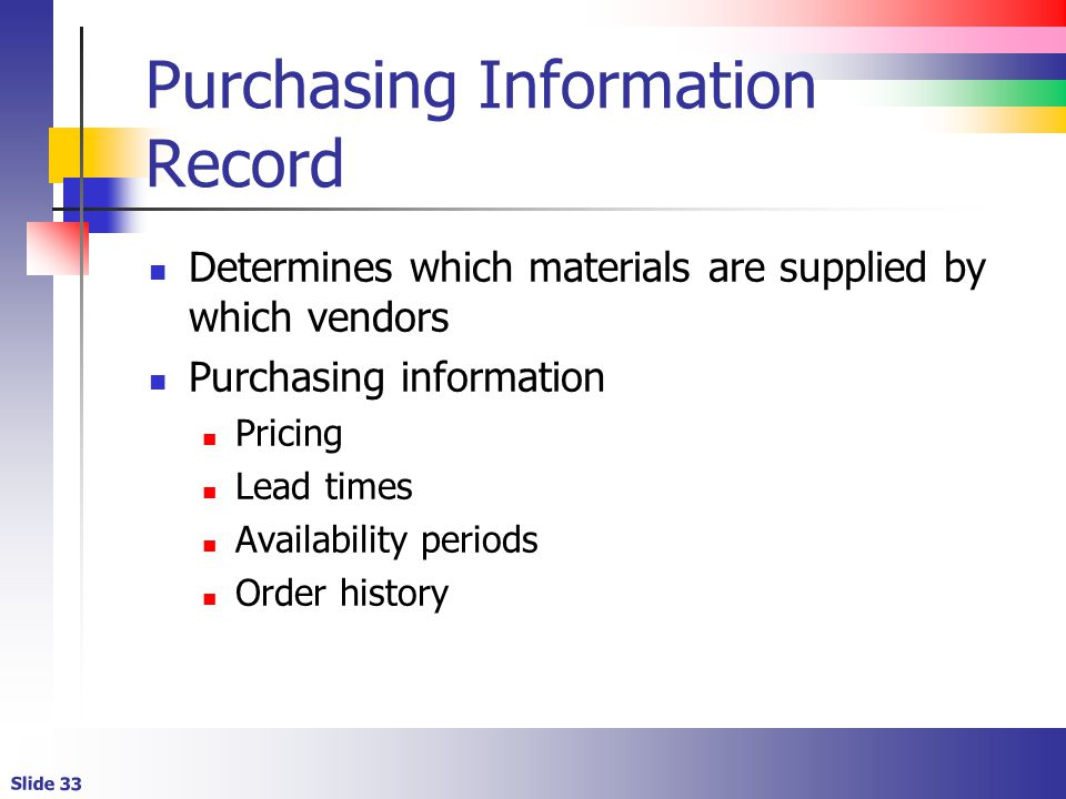 Purchasing Information Record