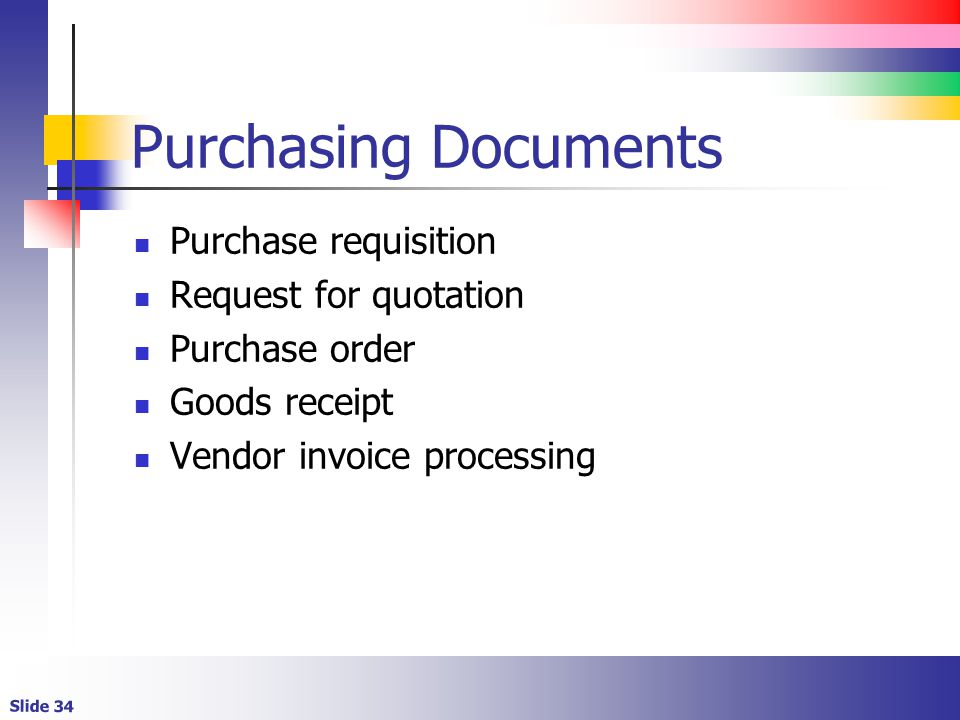 Purchasing Documents Purchase requisition Request for quotation