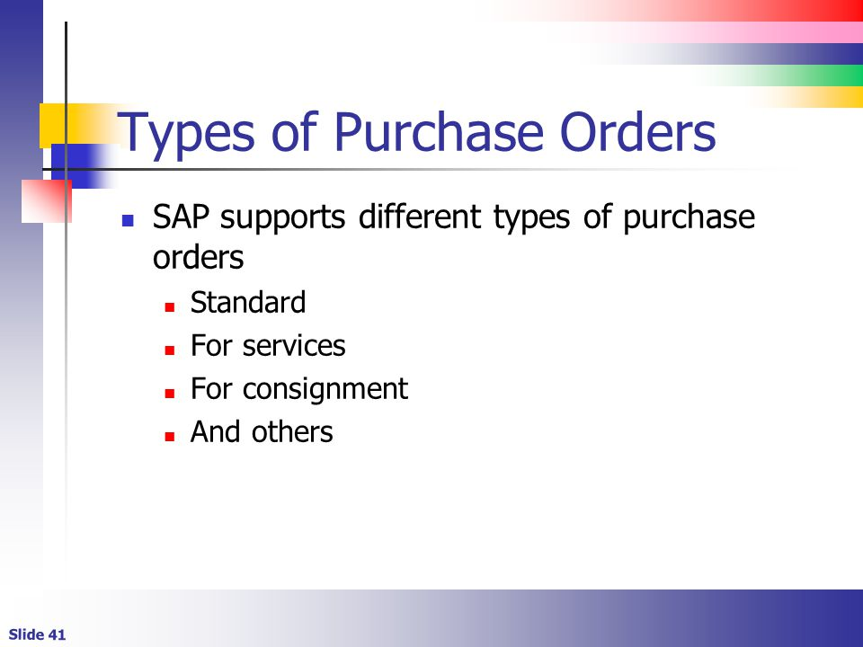 Types of Purchase Orders