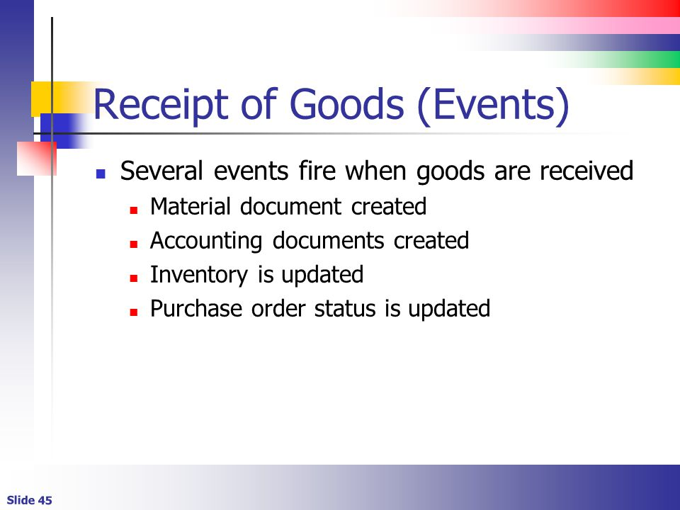 Receipt of Goods (Events)